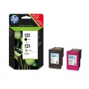 HP CN637HE (HP 121Bk + 121Col) оригинальный струйный картридж чёрный 200 страниццветной 165 страниц, цветной