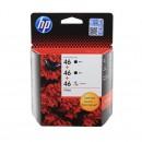 HP F6T40AE (HP 46 Bk + 46 Col) оригинальный струйный картридж чёрный 2*1500 страниц цветной 750 страниц, чёрный, цветной