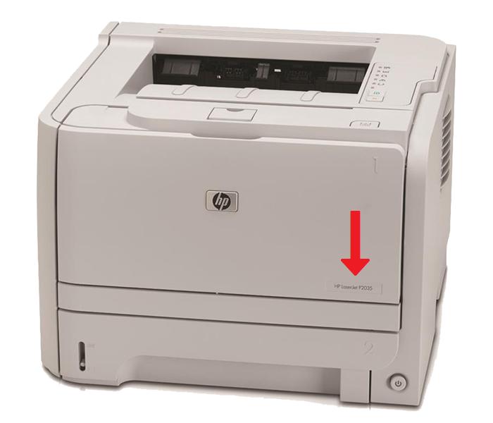 Местонахождение шильдика на принтере HP P2035.